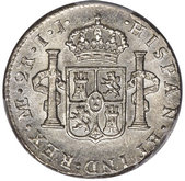 two reales coin reverse