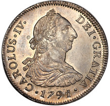 four reales coin obverse