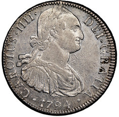eight reales coin obverse