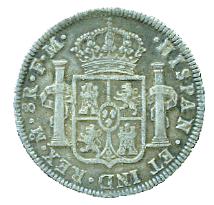 reverse of Spanish colonial Mexican but 8 reales