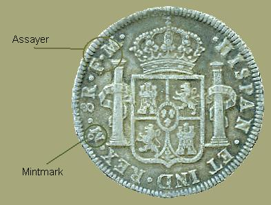 Reverse of Mexican Spanish colonial bust 8 reales