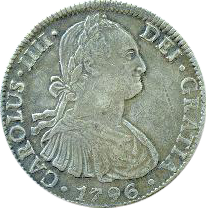 Obverse of Mexican Spanish colonial bust 8 reales